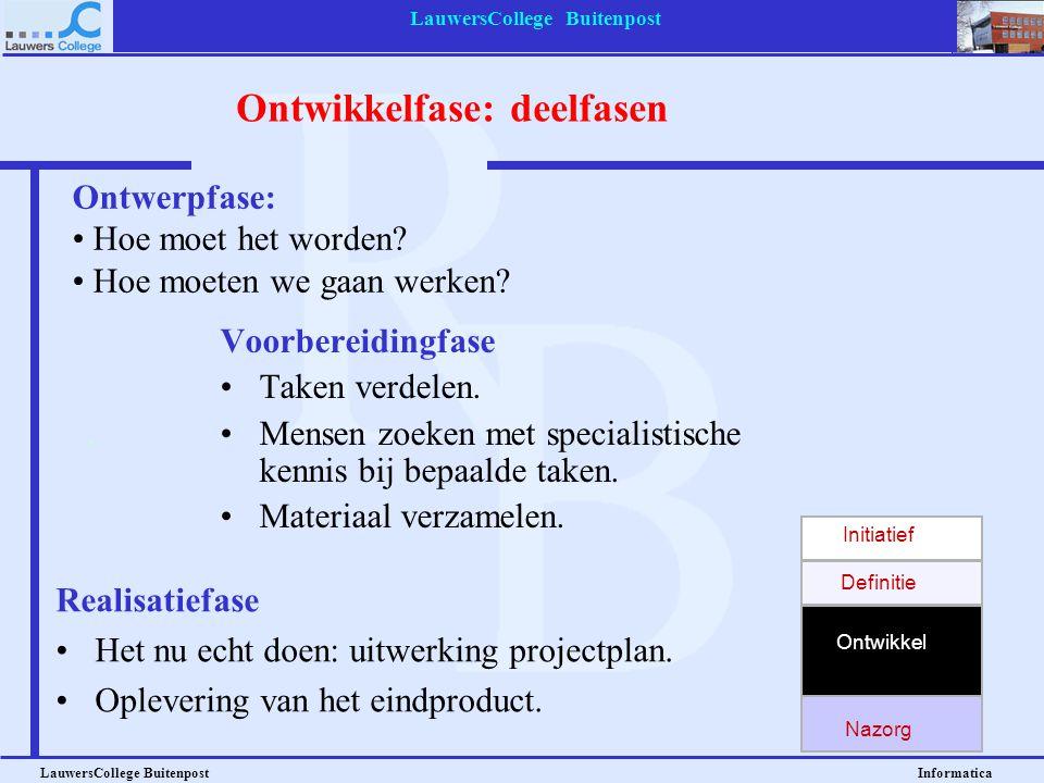 LauwersCollege Buitenpost LauwersCollege Buitenpost Informatica Uitwerking projectplan Langste en meest gecompliceerde fase Deze fase wordt vaak verde