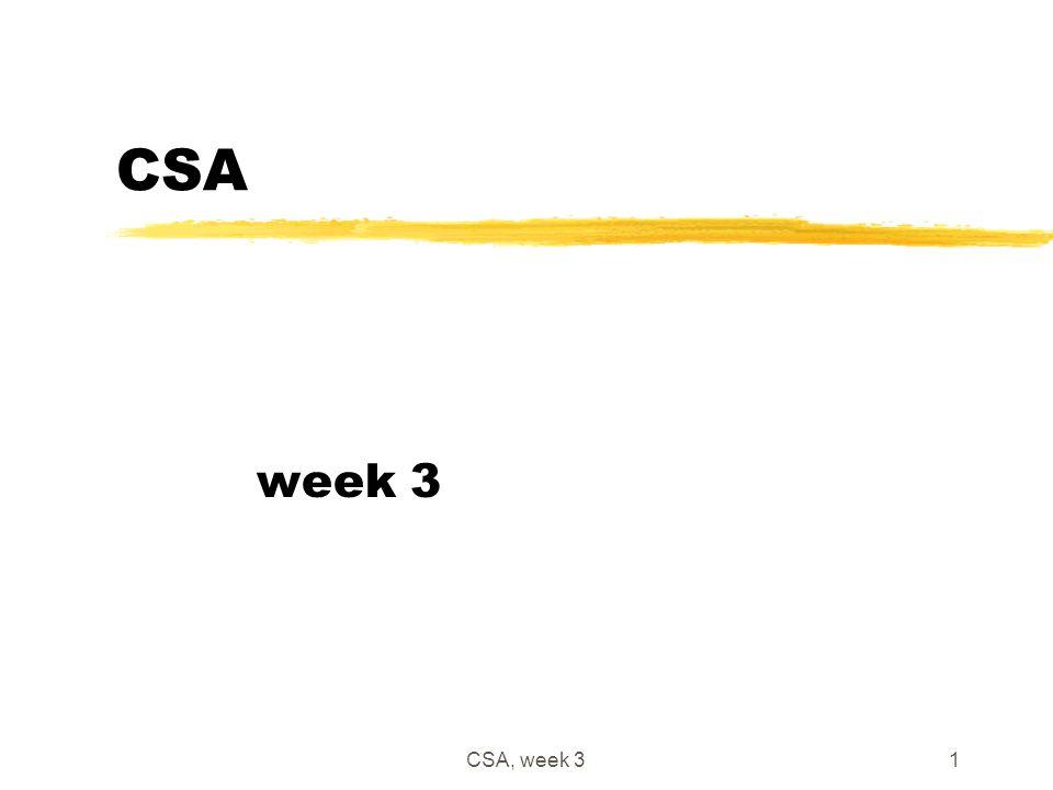 CSA, week 31 CSA week 3