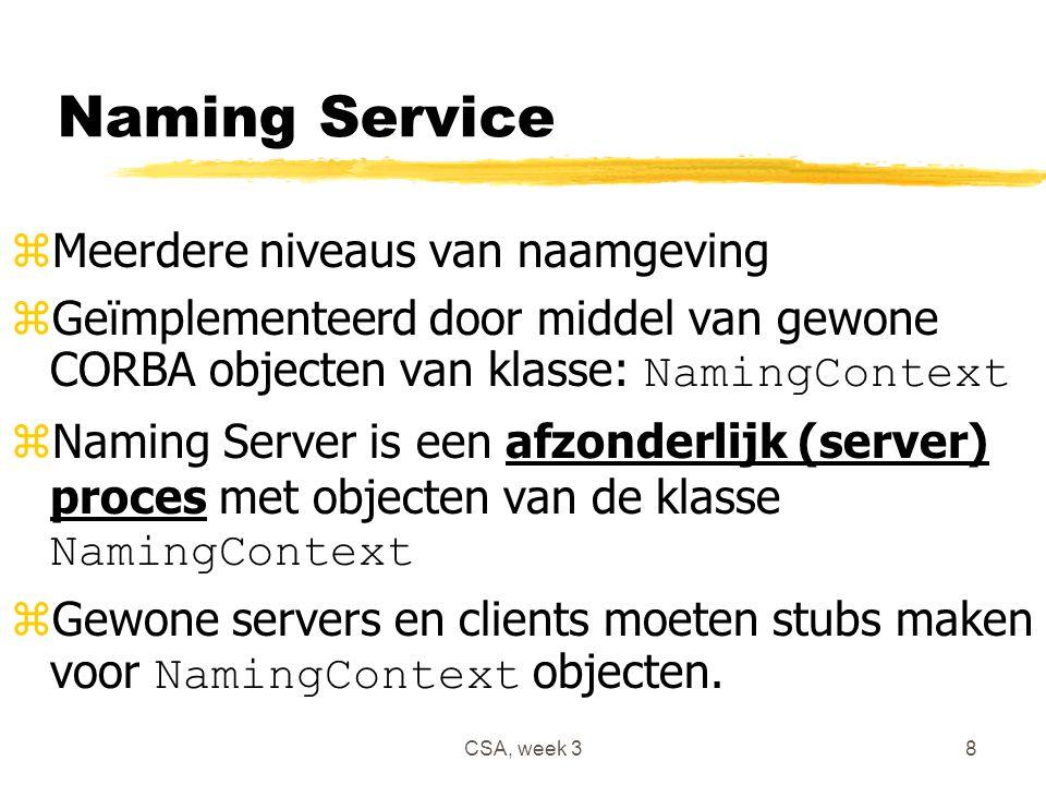 CSA, week 38 Naming Service zMeerdere niveaus van naamgeving  Geïmplementeerd door middel van gewone CORBA objecten van klasse: NamingContext  Naming Server is een afzonderlijk (server) proces met objecten van de klasse NamingContext  Gewone servers en clients moeten stubs maken voor NamingContext objecten.
