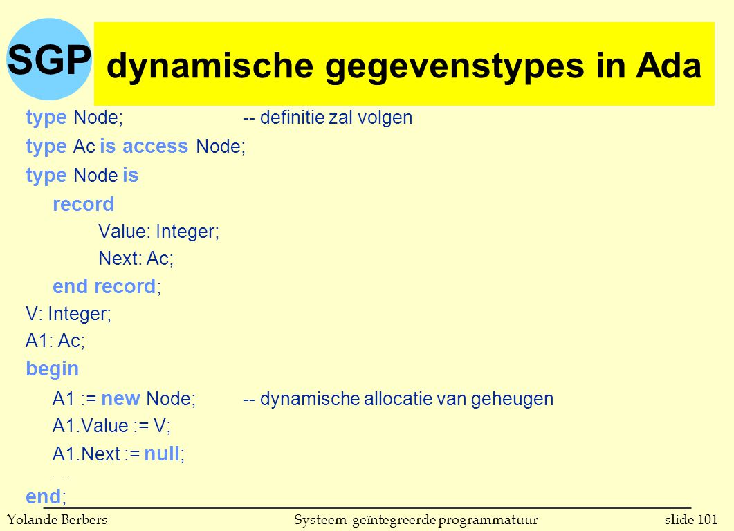 SGP slide 101Systeem-geïntegreerde programmatuurYolande Berbers dynamische gegevenstypes in Ada type Node; -- definitie zal volgen type Ac is access Node; type Node is record Value: Integer; Next: Ac; end record ; V: Integer; A1: Ac; begin A1 := new Node;-- dynamische allocatie van geheugen A1.Value := V; A1.Next := null ;...