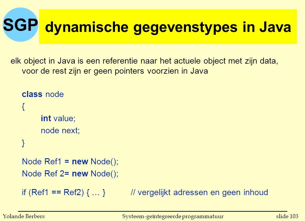 SGP slide 103Systeem-geïntegreerde programmatuurYolande Berbers dynamische gegevenstypes in C (vervolg) elk object in Java is een referentie naar het actuele object met zijn data, voor de rest zijn er geen pointers voorzien in Java class node { int value; node next; } Node Ref1 = new Node(); Node Ref 2= new Node(); if (Ref1 == Ref2) { … }// vergelijkt adressen en geen inhoud dynamische gegevenstypes in Java