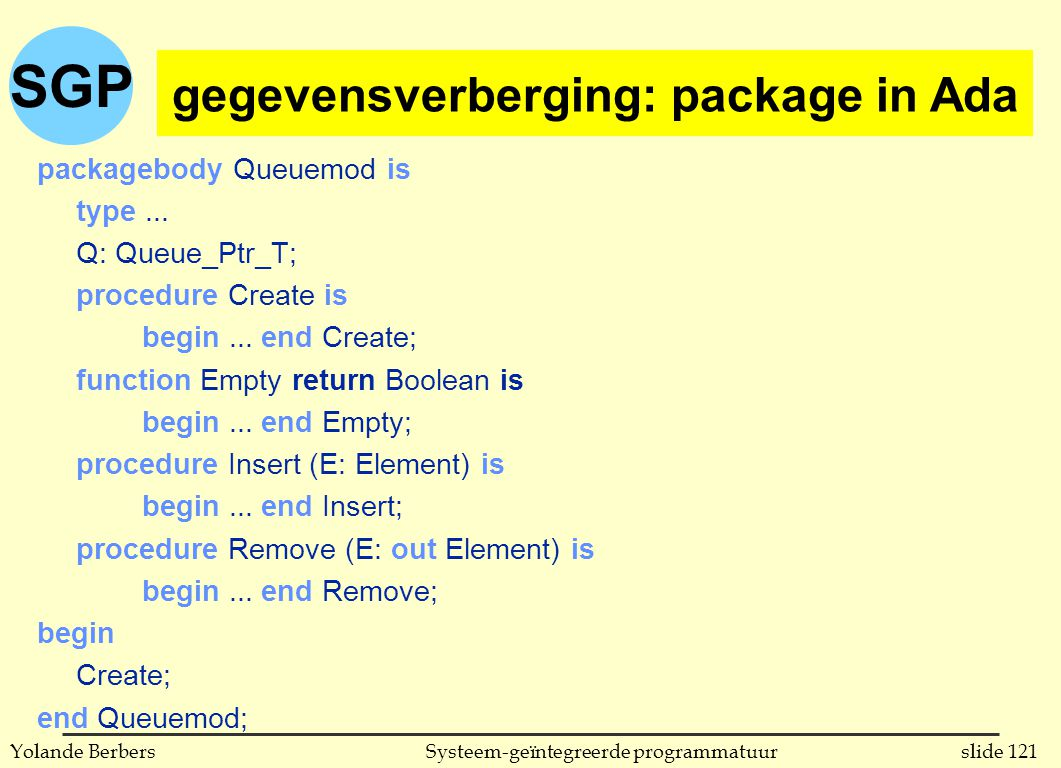 SGP slide 121Systeem-geïntegreerde programmatuurYolande Berbers gegevensverberging: package in Ada (vervolg) packagebody Queuemod is type...