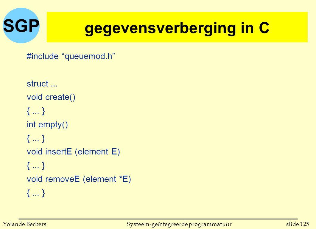 SGP slide 125Systeem-geïntegreerde programmatuurYolande Berbers gegevensverberging in C (vervolg) #include queuemod.h struct...