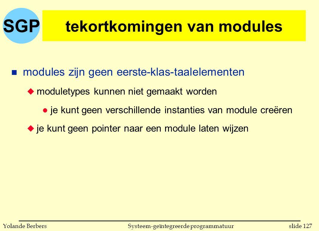 SGP slide 127Systeem-geïntegreerde programmatuurYolande Berbers tekortkomingen van modules n modules zijn geen eerste-klas-taalelementen u moduletypes kunnen niet gemaakt worden l je kunt geen verschillende instanties van module creëren u je kunt geen pointer naar een module laten wijzen