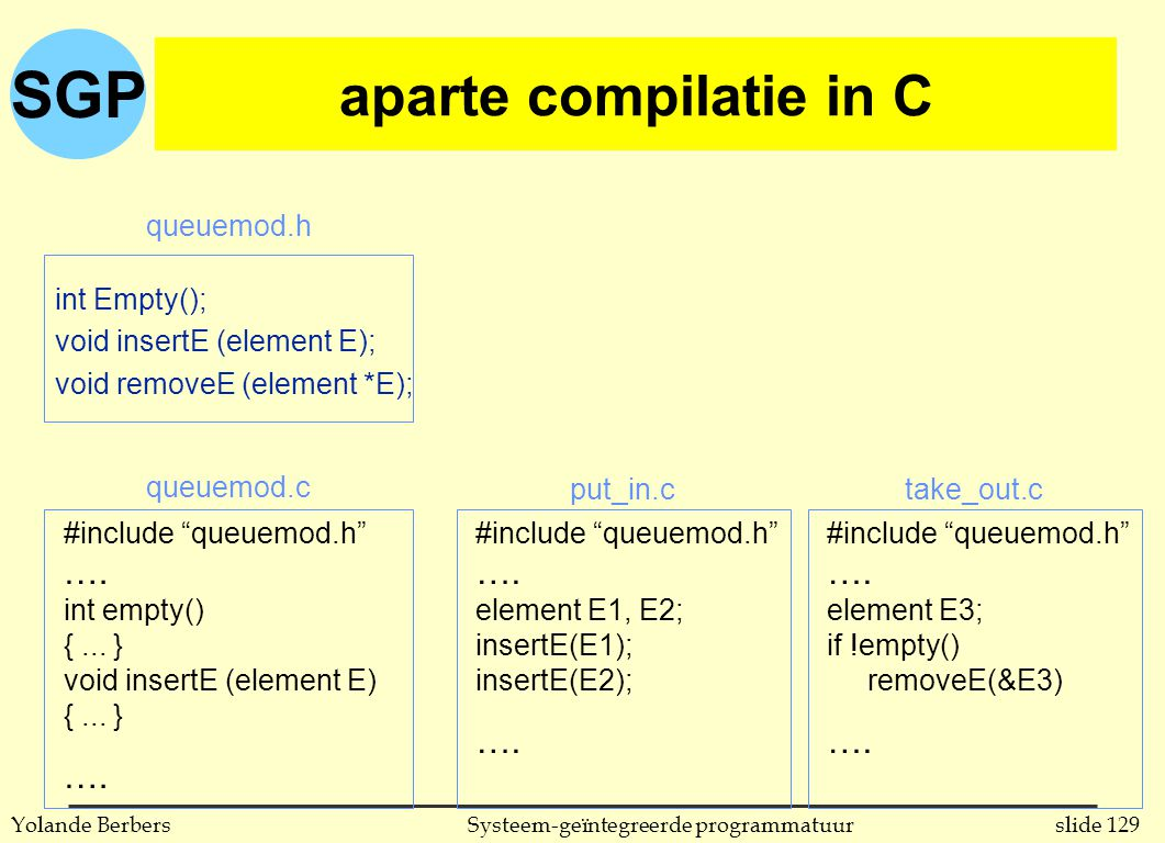 SGP slide 129Systeem-geïntegreerde programmatuurYolande Berbers aparte compilatie in C int Empty(); void insertE (element E); void removeE (element *E); #include queuemod.h ….