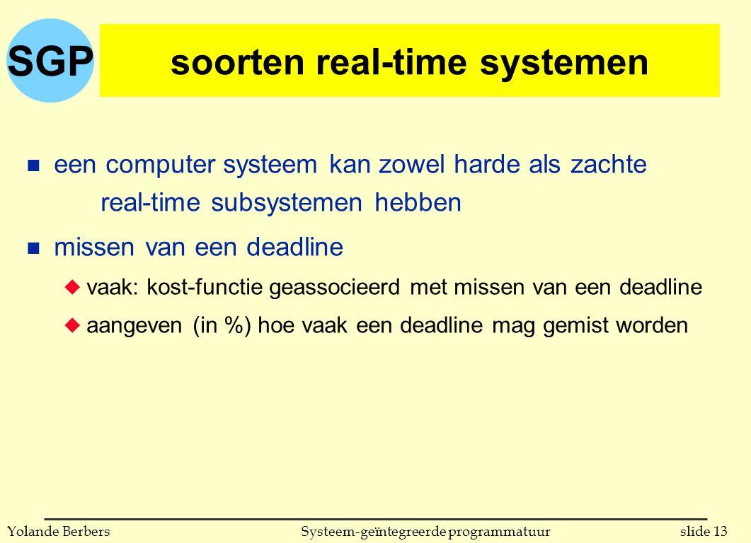 SGP slide 13Systeem-geïntegreerde programmatuurYolande Berbers soorten real-time systemen n een computer systeem kan zowel harde als zachte real-time subsystemen hebben n missen van een deadline u vaak: kost-functie geassocieerd met missen van een deadline u aangeven (in %) hoe vaak een deadline mag gemist worden