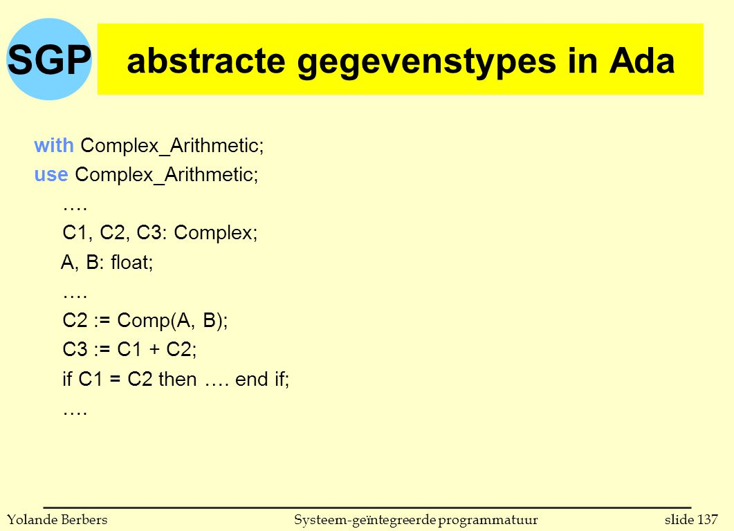 SGP slide 137Systeem-geïntegreerde programmatuurYolande Berbers abstracte gegevenstypes in Ada with Complex_Arithmetic; use Complex_Arithmetic; …. C1,