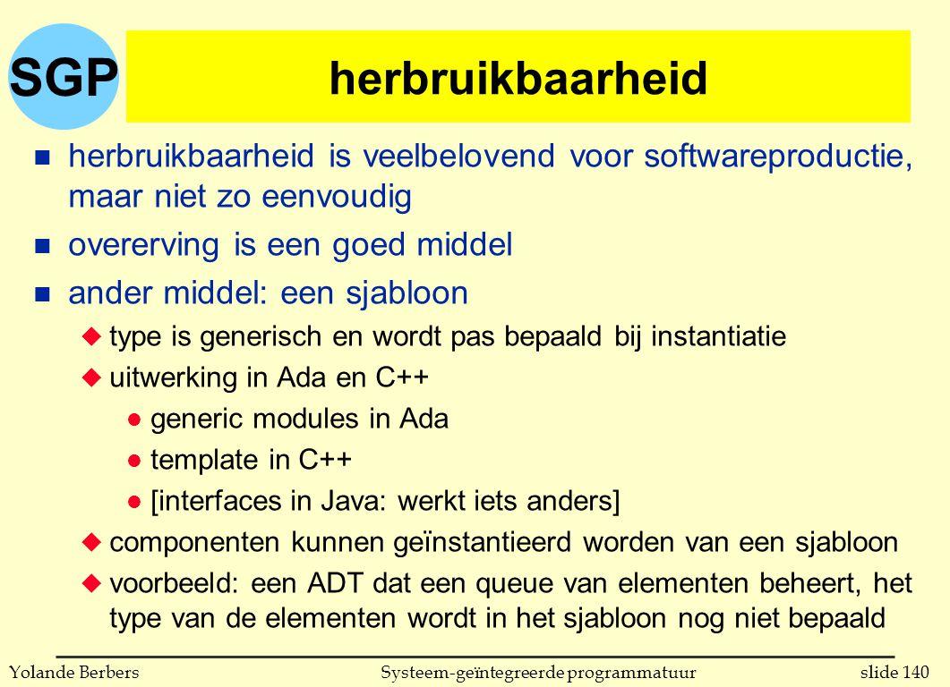 SGP slide 140Systeem-geïntegreerde programmatuurYolande Berbers herbruikbaarheid n herbruikbaarheid is veelbelovend voor softwareproductie, maar niet zo eenvoudig n overerving is een goed middel n ander middel: een sjabloon u type is generisch en wordt pas bepaald bij instantiatie u uitwerking in Ada en C++ l generic modules in Ada l template in C++ l [interfaces in Java: werkt iets anders] u componenten kunnen geïnstantieerd worden van een sjabloon u voorbeeld: een ADT dat een queue van elementen beheert, het type van de elementen wordt in het sjabloon nog niet bepaald