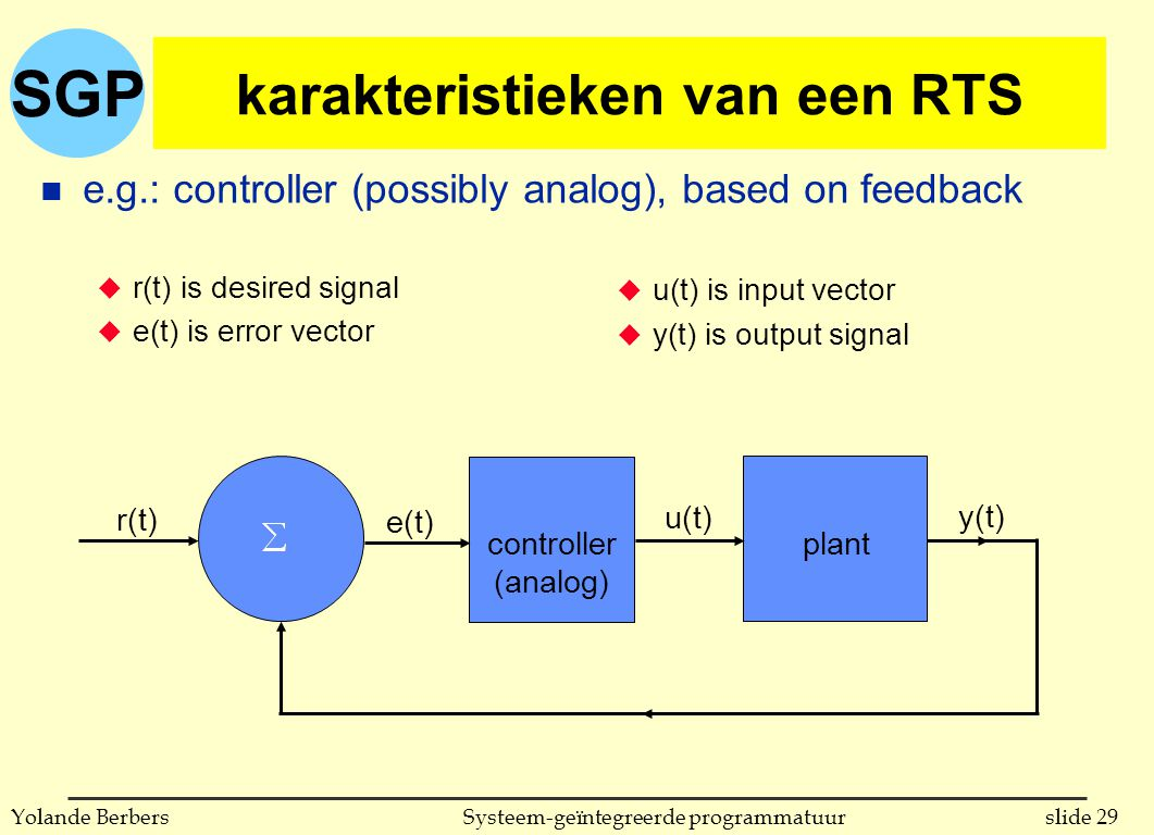 SGP slide 29Systeem-geïntegreerde programmatuurYolande Berbers karakteristieken van een RTS n e.g.: controller (possibly analog), based on feedback u r(t) is desired signal u e(t) is error vector r(t) controller (analog) plant e(t) u(t) y(t) u u(t) is input vector u y(t) is output signal