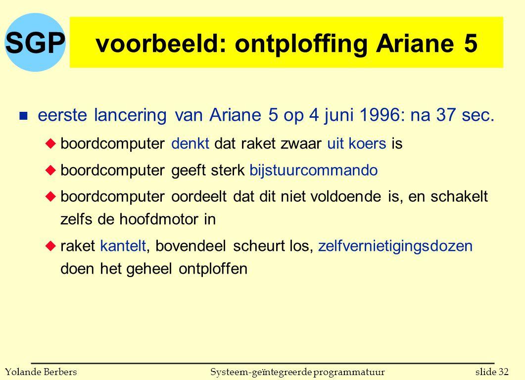 SGP slide 32Systeem-geïntegreerde programmatuurYolande Berbers voorbeeld: ontploffing Ariane 5 n eerste lancering van Ariane 5 op 4 juni 1996: na 37 sec.