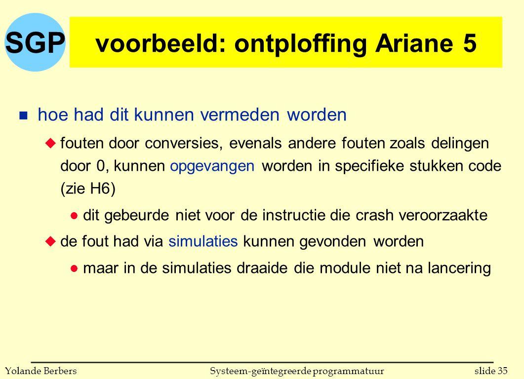 SGP slide 35Systeem-geïntegreerde programmatuurYolande Berbers voorbeeld: ontploffing Ariane 5 n hoe had dit kunnen vermeden worden u fouten door conversies, evenals andere fouten zoals delingen door 0, kunnen opgevangen worden in specifieke stukken code (zie H6) l dit gebeurde niet voor de instructie die crash veroorzaakte u de fout had via simulaties kunnen gevonden worden l maar in de simulaties draaide die module niet na lancering