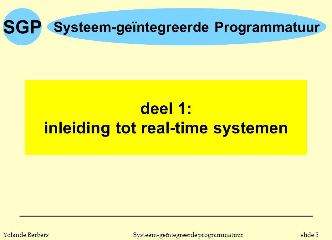 SGP slide 36Systeem-geïntegreerde programmatuurYolande Berbers karakteristieken van een RTS n verschillende software componenten zijn gelijktijdig actief u de apparaten in de omgeving werken gelijktijdig u deze gelijktijdigheid wordt het best gerealiseerd door gelijktijdig uitvoerende software componenten u meer en meer real-time systemen zijn gedistribueerde systemen u dit vraagt ondersteuning van programmeertalen en/of systemen