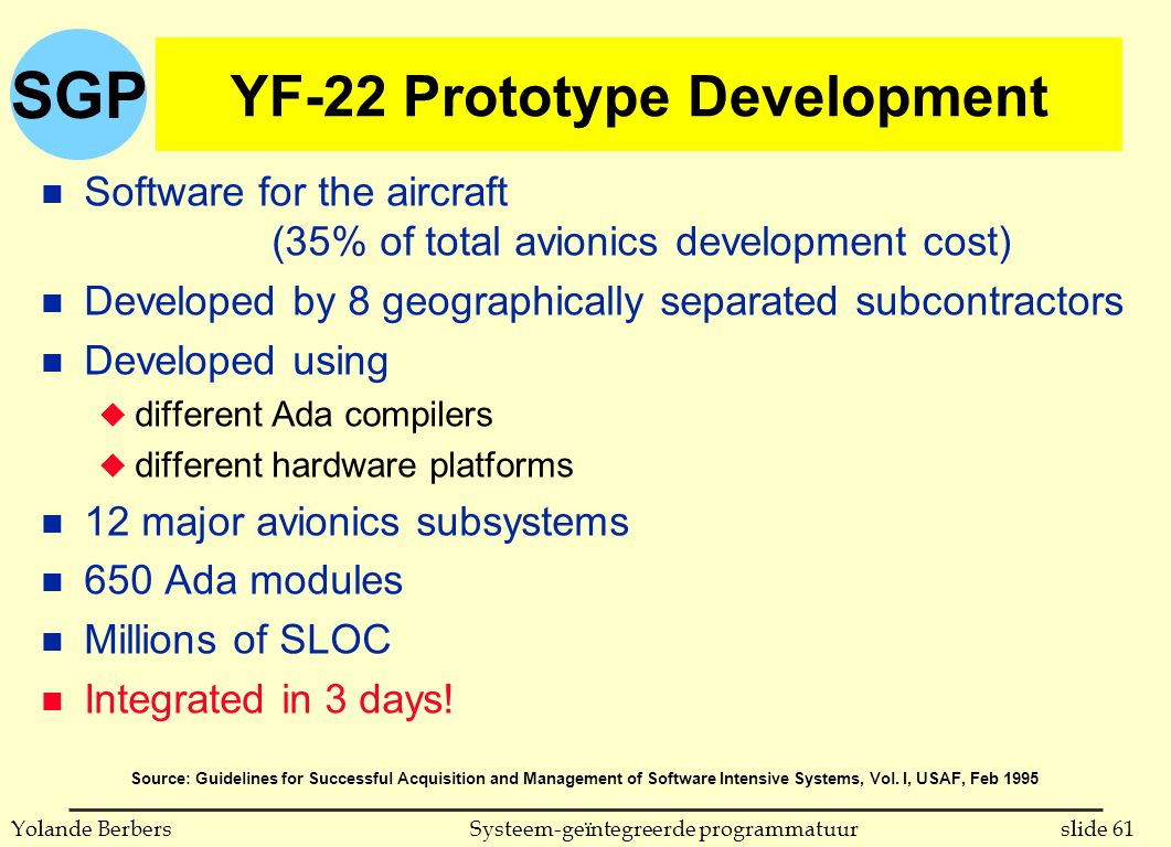 SGP slide 61Systeem-geïntegreerde programmatuurYolande Berbers YF-22 Prototype Development n Software for the aircraft (35% of total avionics developm