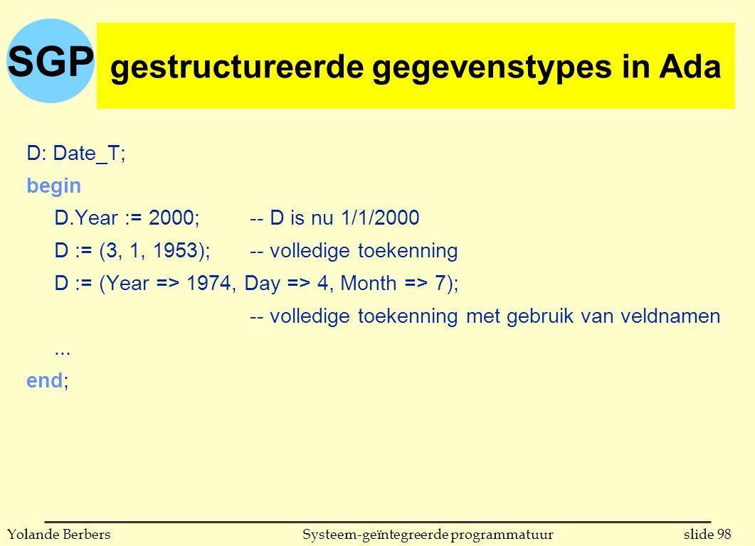 SGP slide 98Systeem-geïntegreerde programmatuurYolande Berbers D: Date_T; begin D.Year := 2000;-- D is nu 1/1/2000 D := (3, 1, 1953);-- volledige toekenning D := (Year => 1974, Day => 4, Month => 7); -- volledige toekenning met gebruik van veldnamen...