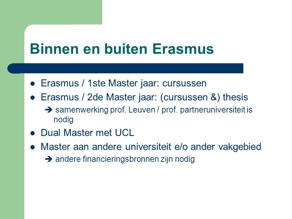 Binnen en buiten Erasmus Erasmus / 1ste Master jaar: cursussen Erasmus / 2de Master jaar: (cursussen &) thesis  samenwerking prof. Leuven / prof. par