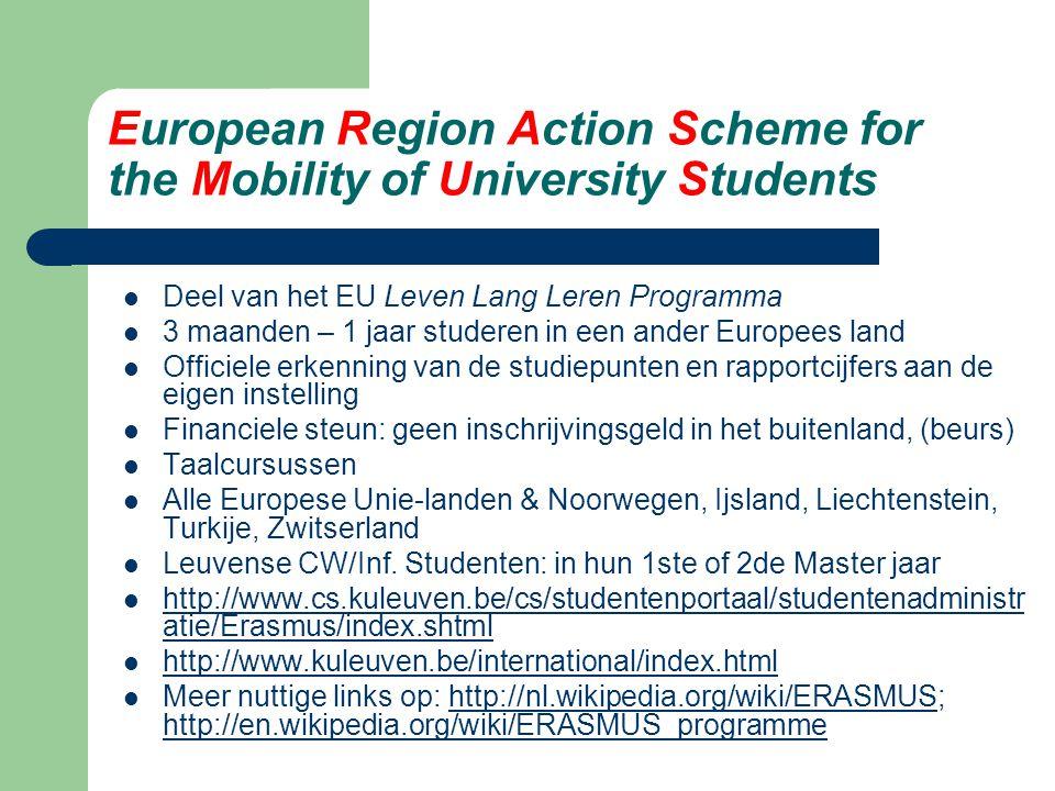 Binnen en buiten Erasmus Erasmus / 1ste Master jaar: cursussen Erasmus / 2de Master jaar: (cursussen &) thesis  samenwerking prof.