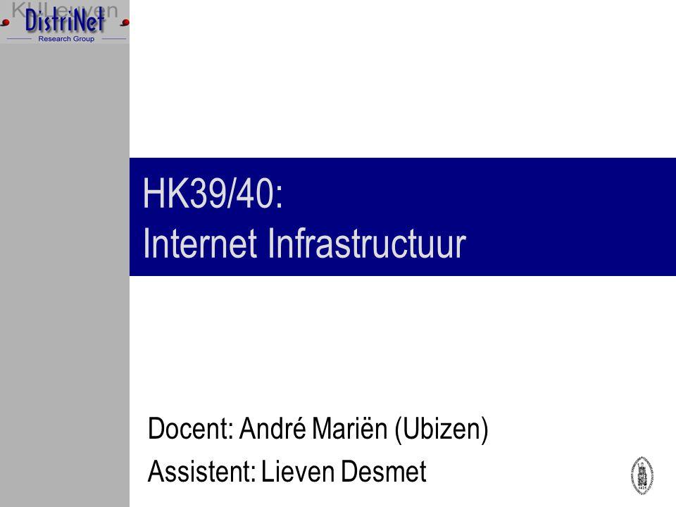 HK39/40: Internet Infrastructuur Docent: André Mariën (Ubizen) Assistent: Lieven Desmet