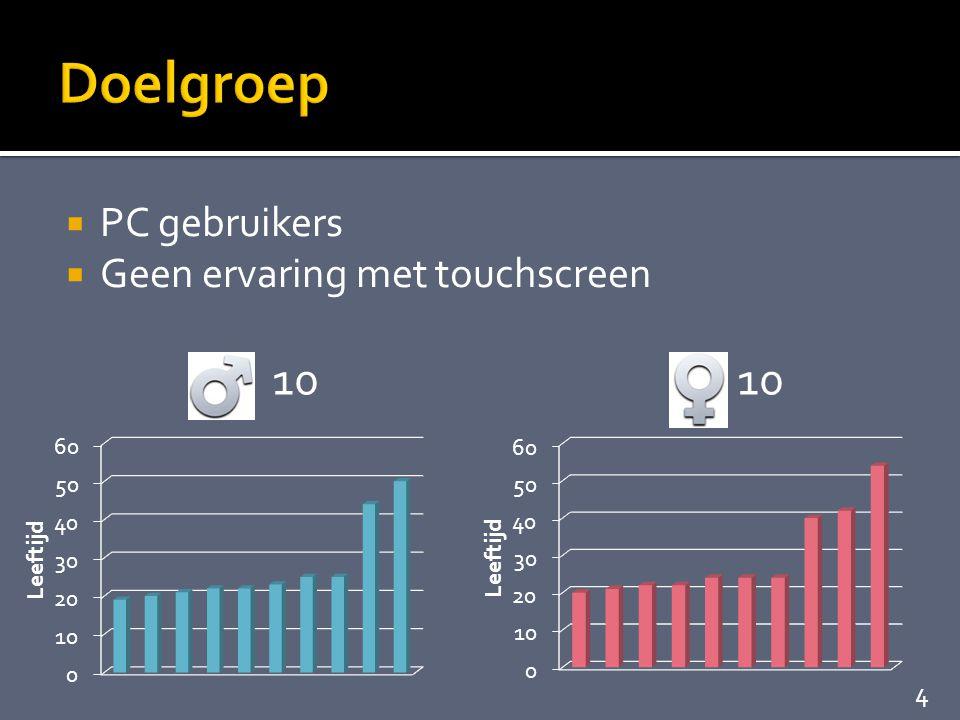  PC gebruikers  Geen ervaring met touchscreen 10 4