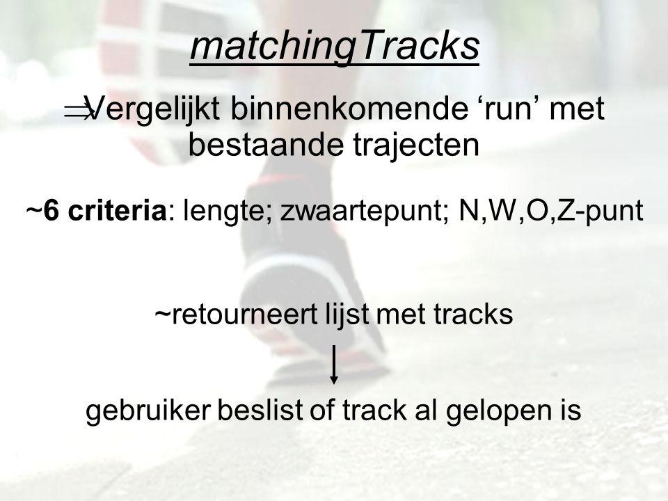 matchingTracks  Vergelijkt binnenkomende 'run' met bestaande trajecten ~6 criteria: lengte; zwaartepunt; N,W,O,Z-punt ~retourneert lijst met tracks gebruiker beslist of track al gelopen is