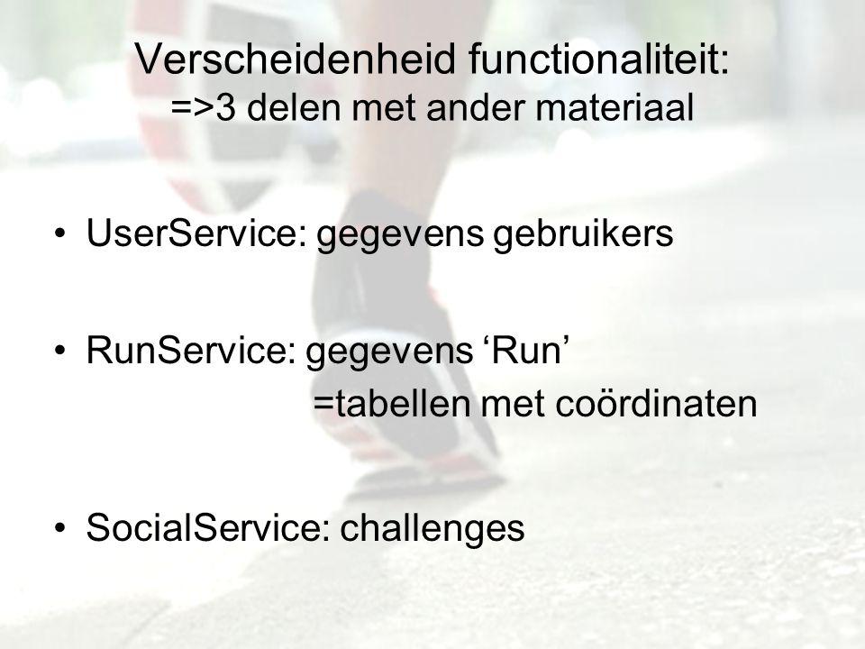 Verscheidenheid functionaliteit: =>3 delen met ander materiaal UserService: gegevens gebruikers RunService: gegevens 'Run' =tabellen met coördinaten SocialService: challenges