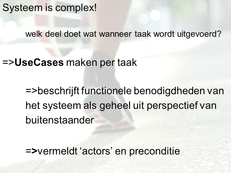 Systeem is complex! welk deel doet wat wanneer taak wordt uitgevoerd? =>UseCases maken per taak =>beschrijft functionele benodigdheden van het systeem