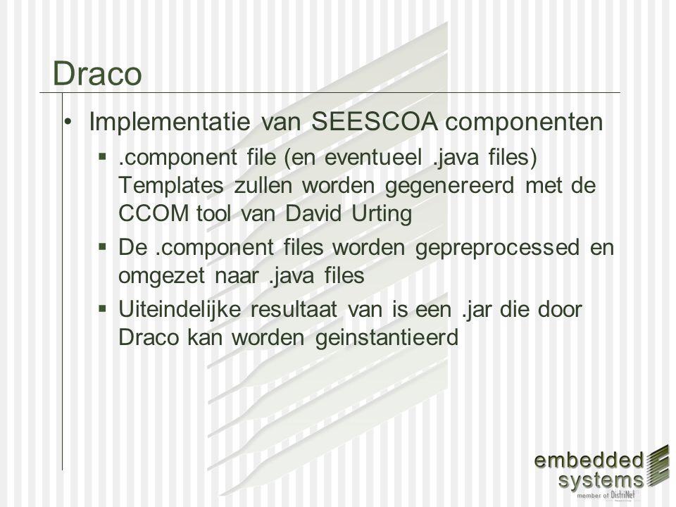 Draco Voorbeeld van.component file:  NumberGenerator & NumberDisplay package components.numberdisplay; component NumberDisplay { portgroup Input 1 { message Number() { System.out.println( Received number: + $$inmessage::value); } NumberDisplay: