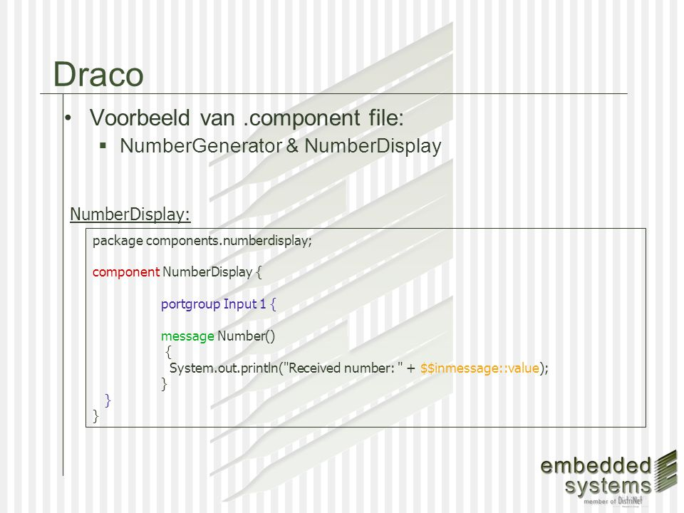 Implementatie van Componenten component NumberGenerator{ protected int $delay = 1000;...