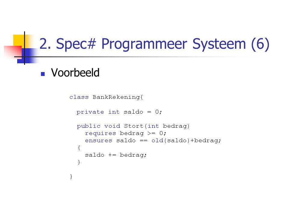 2. Spec# Programmeer Systeem (6) Voorbeeld