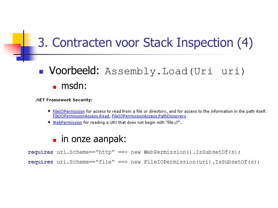 """3. Contracten voor Stack Inspection (4) Voorbeeld: Assembly.Load(Uri uri) msdn: in onze aanpak: requires uri.Scheme==""""http"""" ==> new WebPermission().Is"""