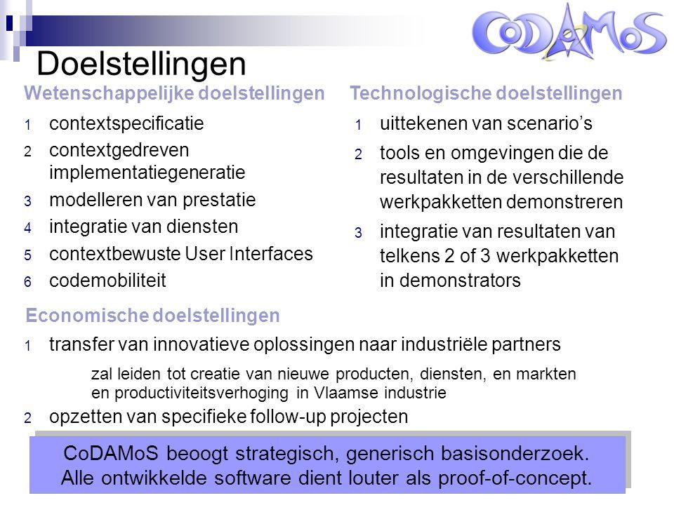 Leuven, 13 oktober 2005 Doelstellingen 1 contextspecificatie 2 contextgedreven implementatiegeneratie 3 modelleren van prestatie 4 integratie van diensten 5 contextbewuste User Interfaces 6 codemobiliteit 1 uittekenen van scenario's 2 tools en omgevingen die de resultaten in de verschillende werkpakketten demonstreren 3 integratie van resultaten van telkens 2 of 3 werkpakketten in demonstrators CoDAMoS beoogt strategisch, generisch basisonderzoek.