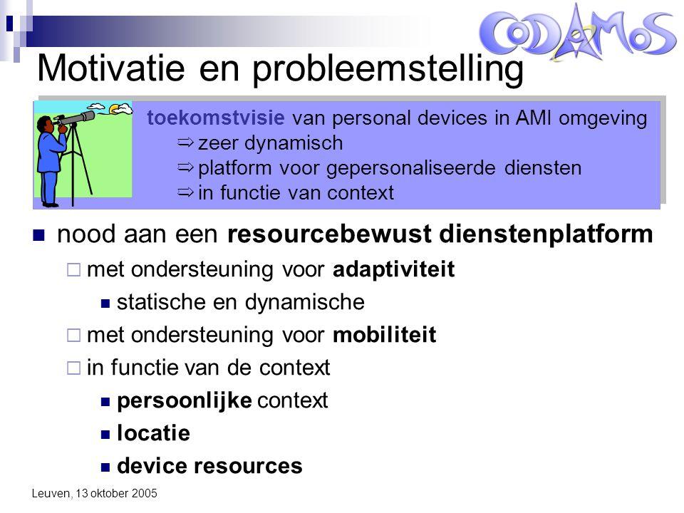 Leuven, 13 oktober 2005 Service Deployment Infrastructure (SDI) Service Provider Service Users CoDAMoS Service Platform