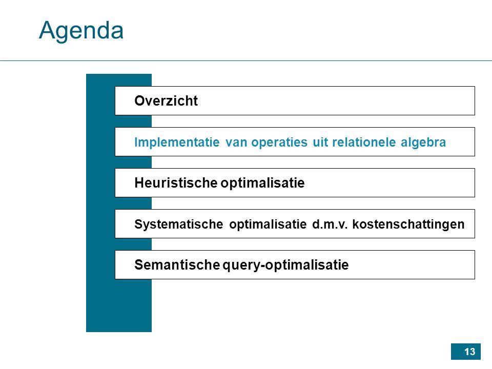 13 Agenda Overzicht Implementatie van operaties uit relationele algebra Heuristische optimalisatie Systematische optimalisatie d.m.v.
