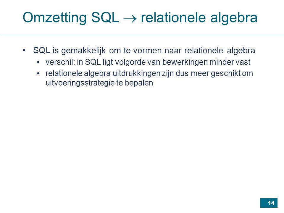 14 Omzetting SQL  relationele algebra SQL is gemakkelijk om te vormen naar relationele algebra verschil: in SQL ligt volgorde van bewerkingen minder vast relationele algebra uitdrukkingen zijn dus meer geschikt om uitvoeringsstrategie te bepalen