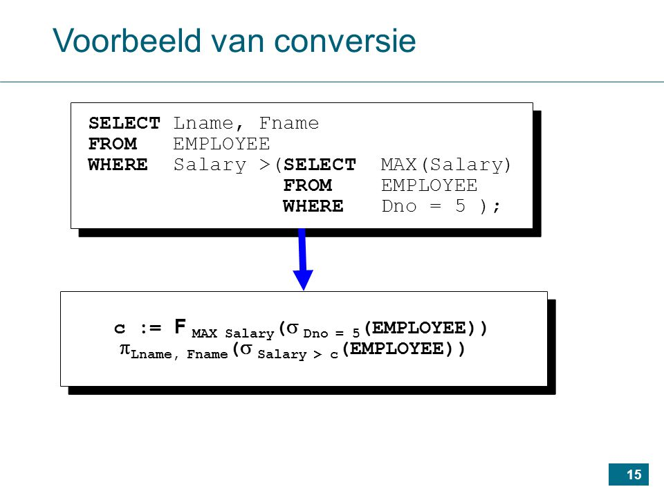 15 Voorbeeld van conversie SELECT Lname, Fname FROM EMPLOYEE WHERE Salary >(SELECT MAX(Salary) FROM EMPLOYEE WHERE Dno = 5 ); SELECT Lname, Fname FROM