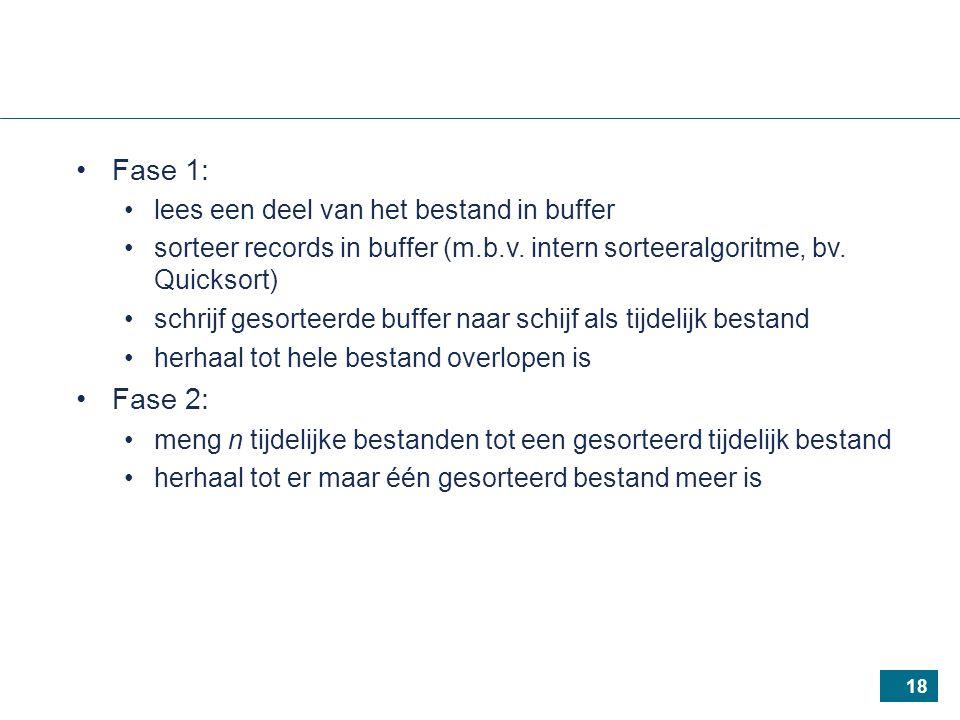 18 Fase 1: lees een deel van het bestand in buffer sorteer records in buffer (m.b.v.