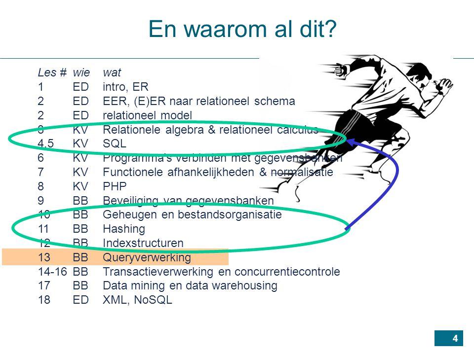 45 vb.: voor 50 departementen, 5 000 werknemers, b D =10, b E = 2 000 elk departement heeft een manager  JSF D =1 maar 50 van de 5 000 werknemers managen een departement  JSF E = 0.01 zij aantal niveaus in indexen: x Ssn = 4, x Mgr_ssn = 2 met EMPLOYEE in buitenste lus: b E + (r E * (x Mgr_ssn + 1) ) = 17 000 blokken met DEPARTMENT in buitenste lus: b D + (r D * (x Ssn + 1) ) = 260 blokken Optimalisatie van joins (3)