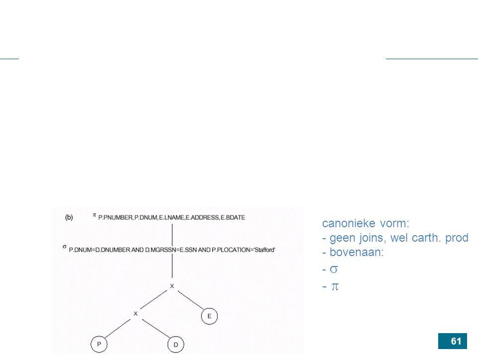 61 canonieke vorm: - geen joins, wel carth. prod - bovenaan: -  - 