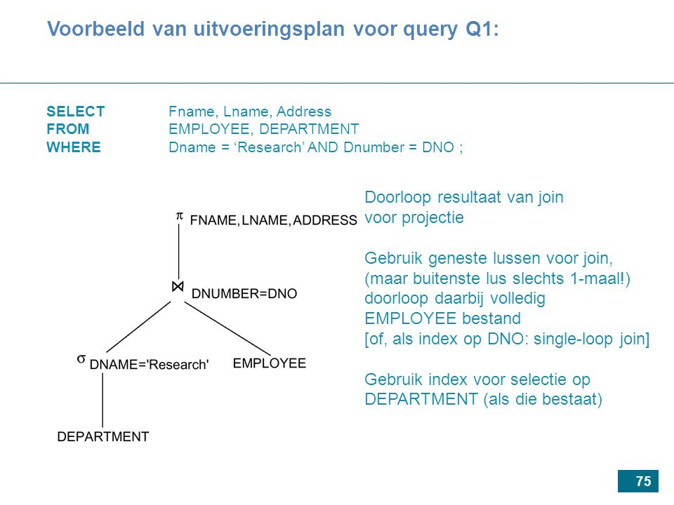 75 SELECT Fname, Lname, Address FROM EMPLOYEE, DEPARTMENT WHEREDname = 'Research' AND Dnumber = DNO ; Voorbeeld van uitvoeringsplan voor query Q1: Doo