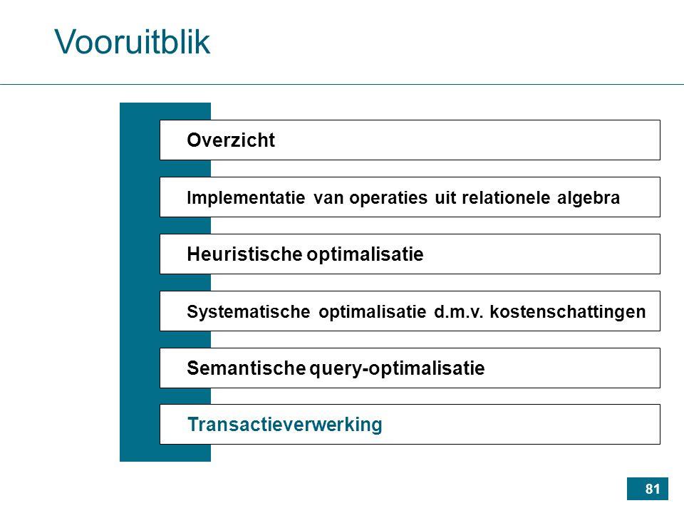 81 Vooruitblik Overzicht Implementatie van operaties uit relationele algebra Heuristische optimalisatie Systematische optimalisatie d.m.v.