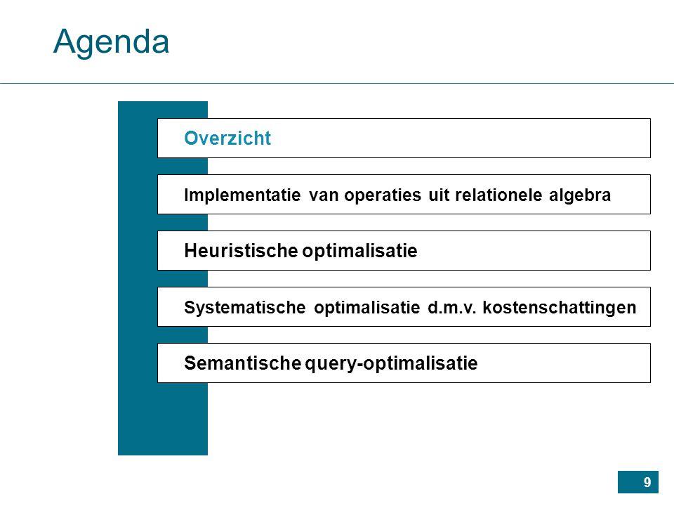 9 Agenda Overzicht Implementatie van operaties uit relationele algebra Heuristische optimalisatie Systematische optimalisatie d.m.v.