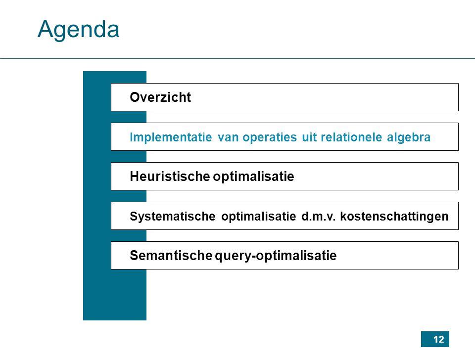 12 Agenda Overzicht Implementatie van operaties uit relationele algebra Heuristische optimalisatie Systematische optimalisatie d.m.v.