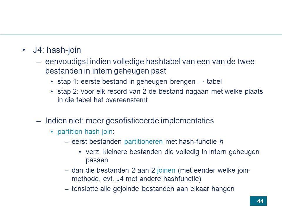 44 J4: hash-join –eenvoudigst indien volledige hashtabel van een van de twee bestanden in intern geheugen past stap 1: eerste bestand in geheugen brengen  tabel stap 2: voor elk record van 2-de bestand nagaan met welke plaats in die tabel het overeenstemt –Indien niet: meer gesofisticeerde implementaties partition hash join: –eerst bestanden partitioneren met hash-functie h verz.