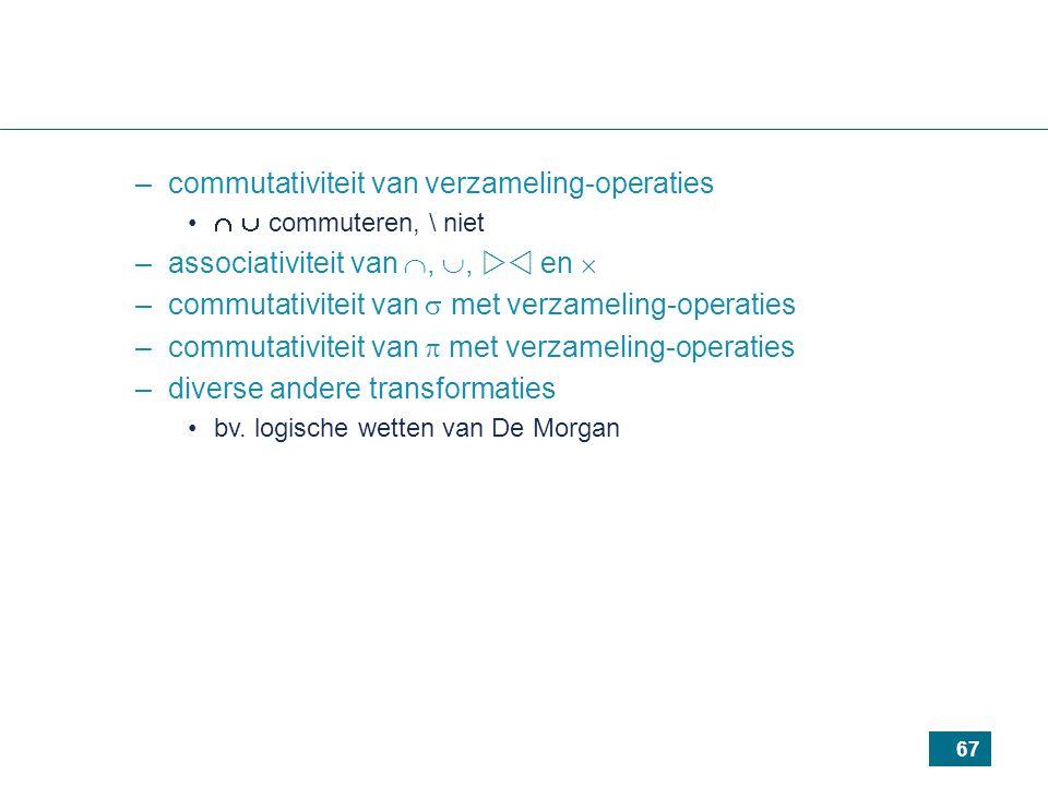 67 –commutativiteit van verzameling-operaties   commuteren, \ niet –associativiteit van , ,  en  –commutativiteit van  met verzameling-operaties –commutativiteit van  met verzameling-operaties –diverse andere transformaties bv.