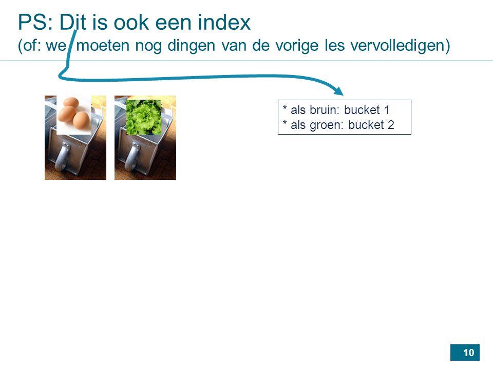 10 PS: Dit is ook een index (of: we moeten nog dingen van de vorige les vervolledigen) * als bruin: bucket 1 * als groen: bucket 2