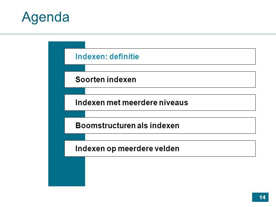 14 Agenda Indexen: definitie Soorten indexen Indexen met meerdere niveaus Boomstructuren als indexen Indexen op meerdere velden
