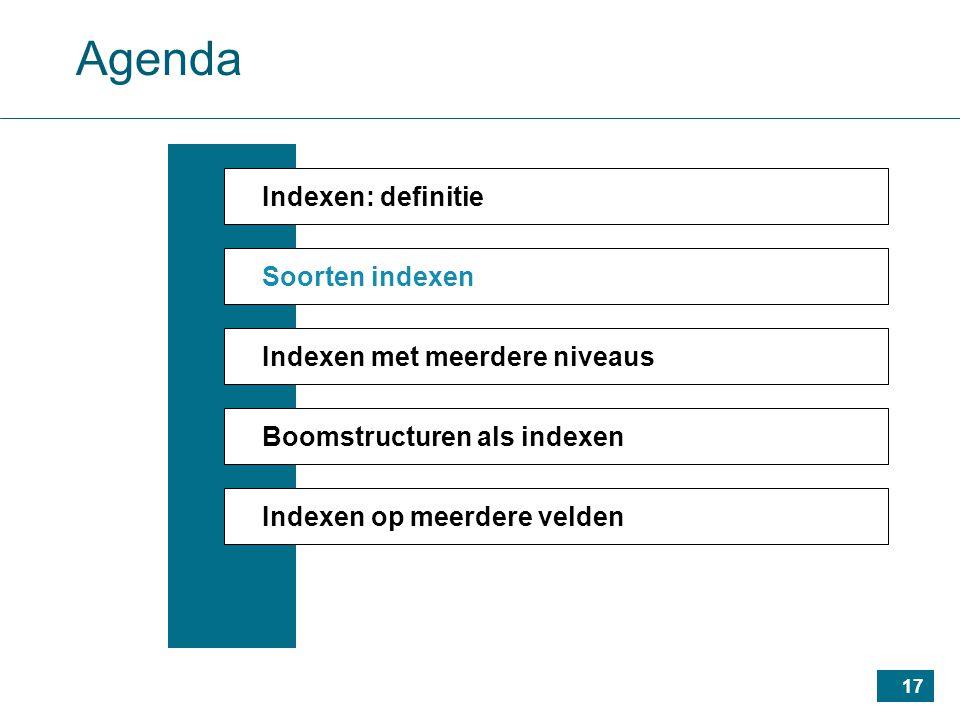 17 Agenda Indexen: definitie Soorten indexen Indexen met meerdere niveaus Boomstructuren als indexen Indexen op meerdere velden