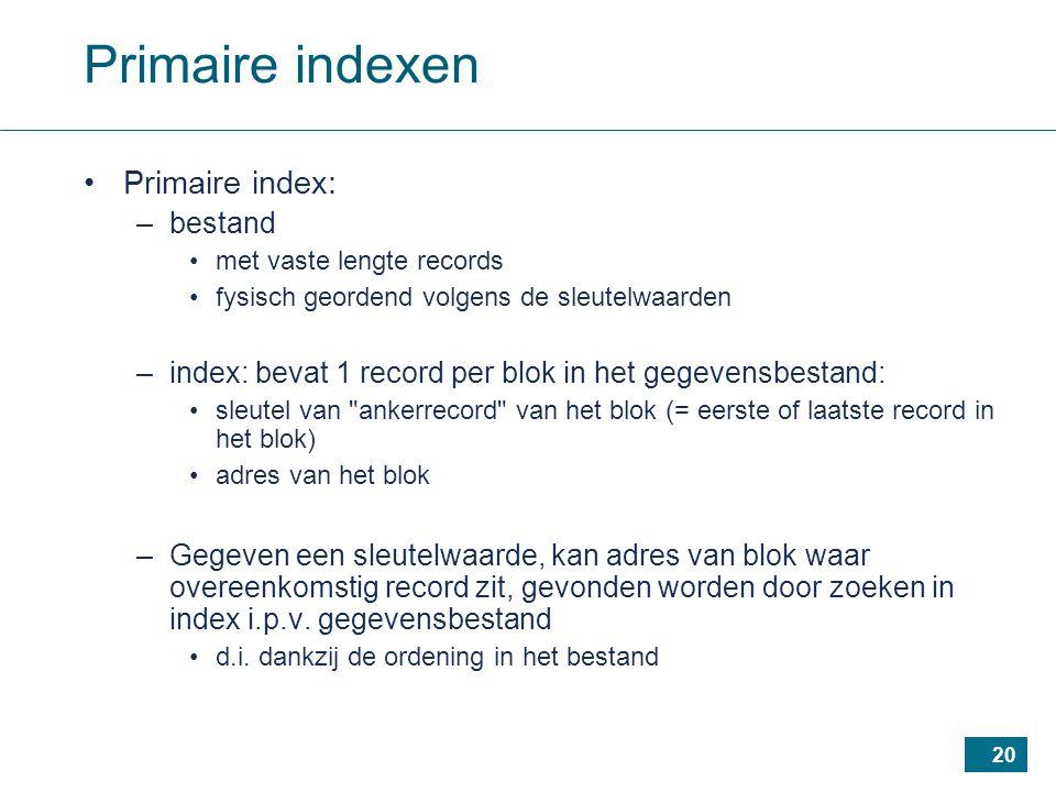 20 Primaire indexen Primaire index: –bestand met vaste lengte records fysisch geordend volgens de sleutelwaarden –index: bevat 1 record per blok in het gegevensbestand: sleutel van ankerrecord van het blok (= eerste of laatste record in het blok) adres van het blok –Gegeven een sleutelwaarde, kan adres van blok waar overeenkomstig record zit, gevonden worden door zoeken in index i.p.v.