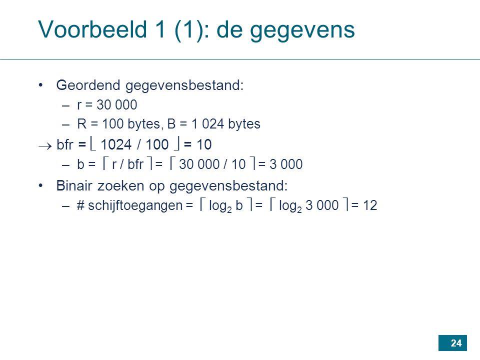 24 Voorbeeld 1 (1): de gegevens Geordend gegevensbestand: –r = 30 000 –R = 100 bytes, B = 1 024 bytes  bfr =  1024 / 100  = 10 –b =  r / bfr  =  30 000 / 10  = 3 000 Binair zoeken op gegevensbestand: –# schijftoegangen =  log 2 b  =  log 2 3 000  = 12