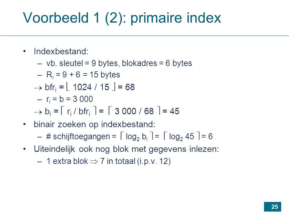 25 Voorbeeld 1 (2): primaire index Indexbestand: –vb.