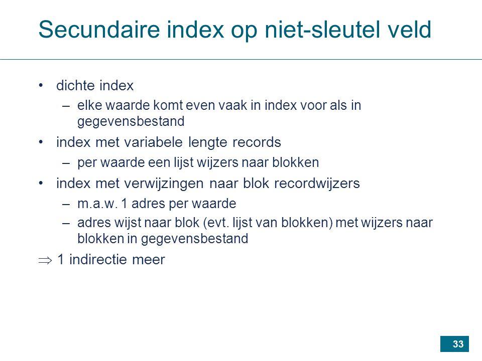 33 Secundaire index op niet-sleutel veld dichte index –elke waarde komt even vaak in index voor als in gegevensbestand index met variabele lengte records –per waarde een lijst wijzers naar blokken index met verwijzingen naar blok recordwijzers –m.a.w.
